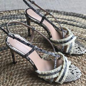 Zara woman snake heels with fringe details size 39